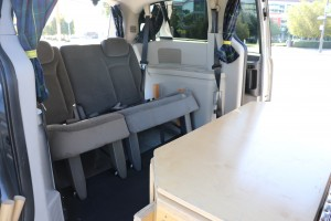Sierra class campervans for rent - table & storage