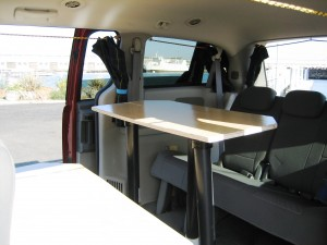 Sierra class campervans for rent: table & storage