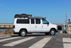 Ford campervans for rent with roof top tents in California and Utah