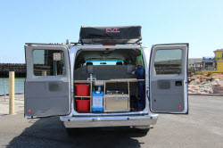 Cheap Ford campervans for rent with roof top tents in California and Utah
