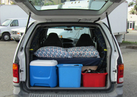 Ford Windstar campervans for rent with beds in California and Utah