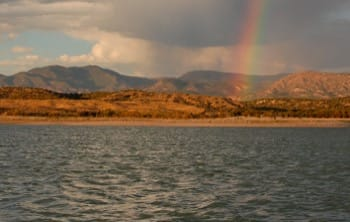 Utah camping hot spots - rainbow over Yuba Lake